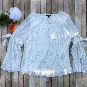 NWT Lane Bryant white polka dot blouse tie sleeve